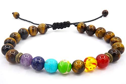 Senlinmu Bracciale con Cinturino Regolabile in energia Tiger Eye Stone Braided Bracelet 7 Chakra Men