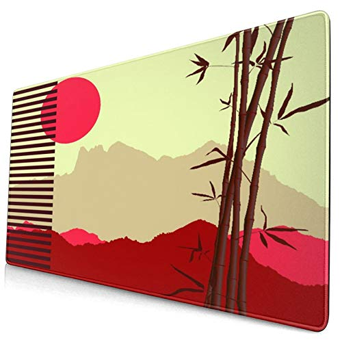 """Extra Large Gaming Mouse Pad with Stitched Edges,Japanese Theme with Bamboo and Mountains Silhouettes,Non-Slip Rubber Base Computer Keyboard Mat,29.5"""" x 15.8"""""""