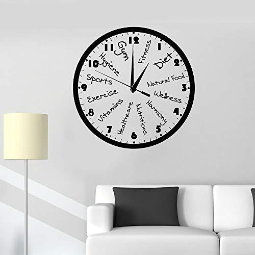 JXMN Reloj de Club de Fitness Personalizable calcomanías de Vinilo para Pared Sala de Fitness decoración de la casa decoración de Gimnasio Deportivo Pegatinas de Pared Autoadhesivas Modernas 47x47cm