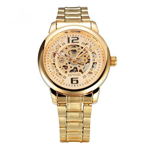 PIXNOR Reloj de pulsera mecánico automático con banda de acero inoxidable–Golden
