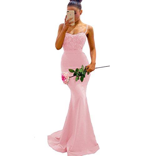 Yuxin Mermaid Bridesmaid Dresses Long 2021 Lace Spaghetti Straps Prom Dress Backless Pink US26 Plus