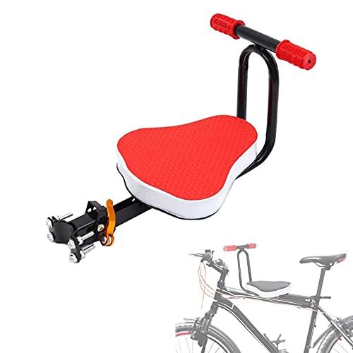 QWET Asiento De Bicicleta para NiñOs, Accesorios De Bicicleta Delanteros Ultraligeros Y EcolóGicos, Apto para NiñOs, con Reposabrazos,Rojo