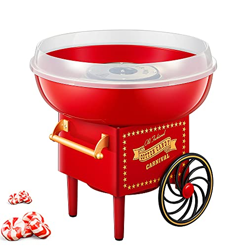 Cotton Candy Machine, 500W Red Vintage Cotton Candy Machine, Professional Cotton Candy Floss...