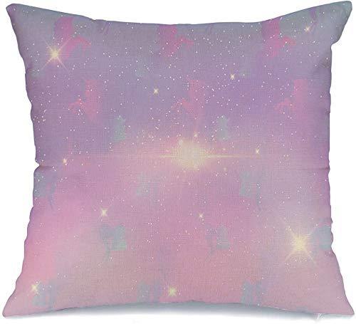 Funda de Cojine Throw CojínConcepto Rayas Hada Cósmica Diseño Gráfico Magia Galaxia Azul Pastel Con Caballo Fantasía Fundas para almohada 45X45CM