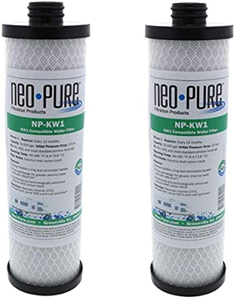 Neo Pure WaterPur KW1 Replacement RV Water Filter NP KW1 2 PK