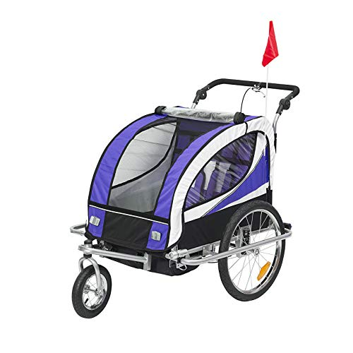 Aosom 2-in-1 Folding Child Bike Trailer & Baby Stroller with Safety Flag, Light Reflectors, & 5 Point Harness, Purple