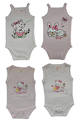 4 Body sin mangas de verano para niña, de algodón, paquete de 4 Combinación 3 12- 18 meses