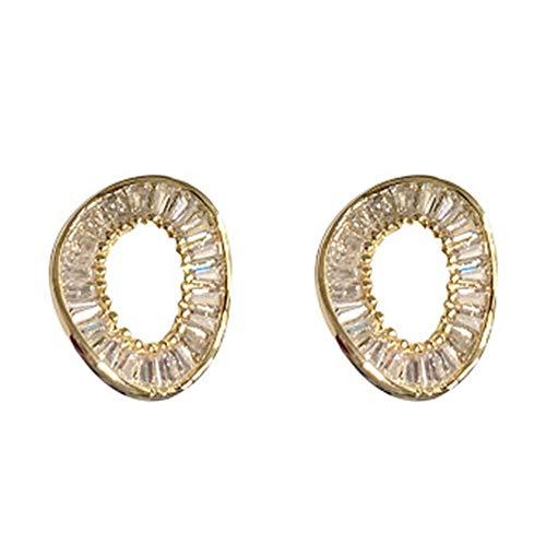 Luopei Pendientes de clip para las orejas, accesorios negros, modernos, minimalistas, metal, 2 piezas, dorado