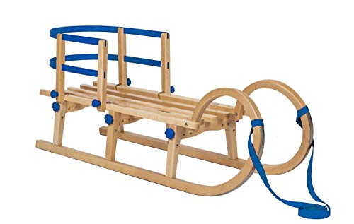 Impag Hörner Klapp-Schlitten 115 cm   europäisches Buche Massivholz   Sport-Qualität [Blau]