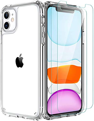 iPhone 12 Mini Case,[Airbag Series] with [2 x Tempered Glass Screen Protector] [ Military Grade ] | 15Ft. Drop Tested [Scratch-Resistant] for Apple iPhone 12 Mini 5.4 Inch- Clear