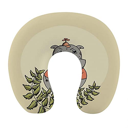Almohada Viaje Cuello 30*29*10 cm 100% Fibra de Poliéster Ultrafina Almohada Viaje Cervical Transpirable con Funda con Cremallera Cojin Cervical Viscoelástica de Espuma,Dibujos Animados