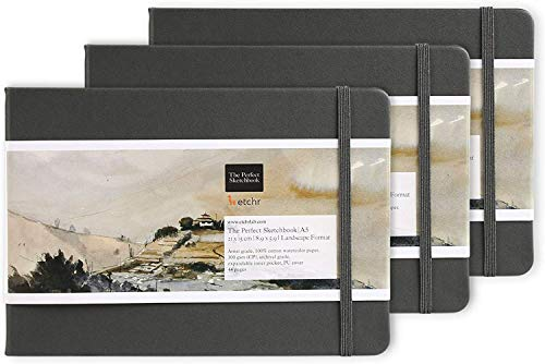 ETCHR Mixed Media Sketchbooks for Drawing and Painting 3 pk - Size A5 5.8x8.3 Inch - 100% Cotton Cold Press Textured Vegan-Friendly Multimedia Sketchbooks - 44 Pages Per Book