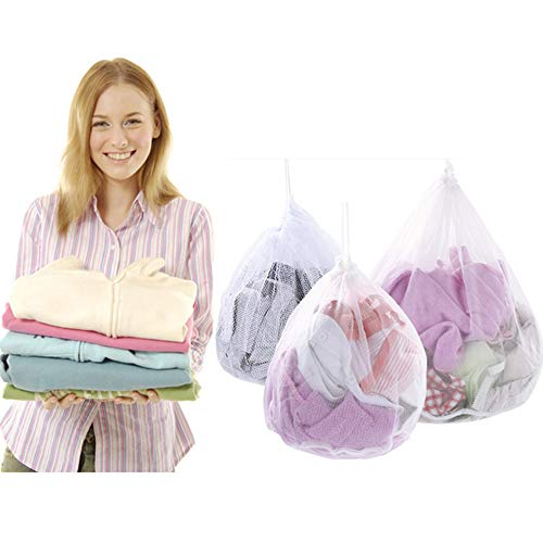 Nuluxi Waeschesack Wäschenetz Waschmaschine Nylon Waschmaschine Wäschebeutel Kordelzug Kleidung Wäschesack Geeignet für Waschmaschine für Oberbekleidung Dessous Socken Babywäsche Kaschmir(3 Stück)