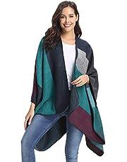 Abollria Vrouwen Poncho Vintage Kwastjes Geribbelde Gebreide Deken Cape Sjaal Poncho Trui Vest