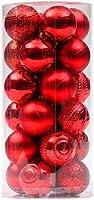 GYC 6cmクリスマスツリーシャイニーマットグリッターカービングボールオーナメント24本(ピンク)