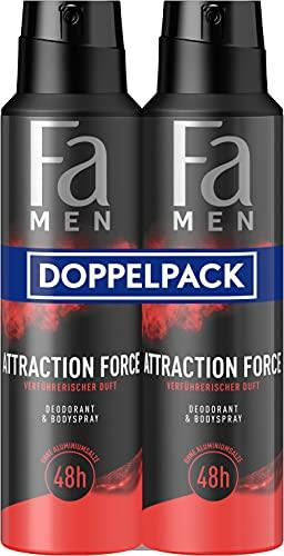 Fa Men Deodorant & Bodyspray Attraction Force mit verführerischem Duft, 48h Schutz 2er, 300 ml