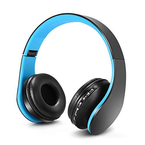 Auriculares Bluetooth para niños, Auriculares Plegable para niños con Volumen Limitado, niñas y niños, Auriculares Ajustable y Plegable con micrófono-Azul Negro