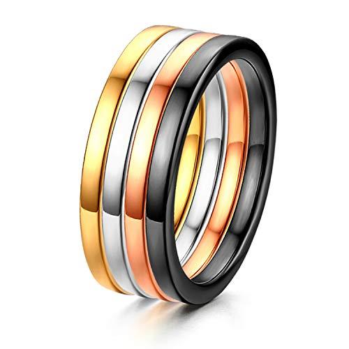 Oidea Donna Anello acciaio inossidabile lucidato Fidanzamento Promessa Matrimonio(4 colori/pezzi) 14