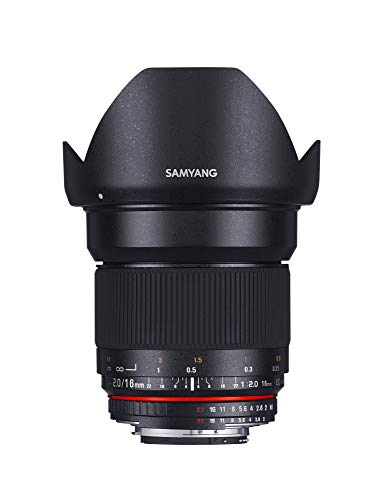 Samyang 16/2,0 Objektiv DSLR Nikon F AE manueller Fokus automatischer Blendenring Fotoobjektiv, Weitwinkelobjektiv schwarz