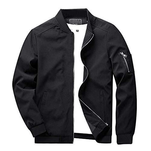 CRYSULLY Men's Fall Active Classic Zip Up Closure Jacket Thin Light Weight Flight Bomber Jacket Coat Black