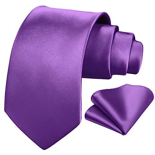 HISDERN PanuEIo de corbata morado liso para hombre Conjunto de corbataopanuEIo de bolsillo clasico de boda