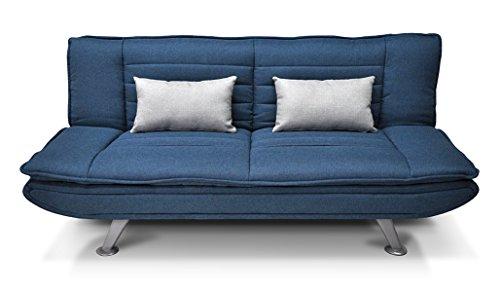 Divano letto clic clac in tessuto blue marino - divano 3 posti mod. Iris con cuscini