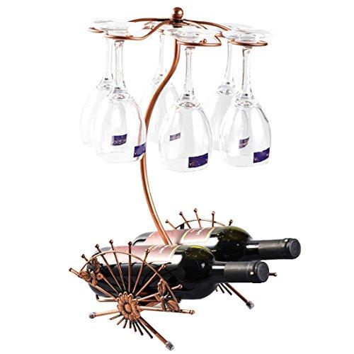 XQElect Botellero De Vino Metal Forma de ventilador Marrón Artesanía Comedor 26×26×46cm Decoraciones Interiores