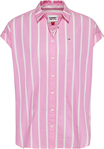 Tommy Jeans TJW Relaxed Stripe Shirt SS Camisa, Margarita rosa/blanco, M para Mujer