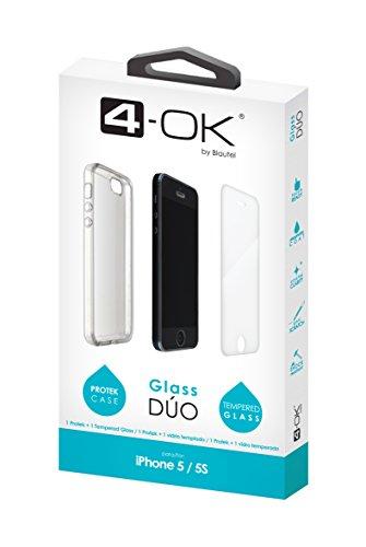4-OK Glass Dúo - Funda y protector de cristal para Apple iPhone 5/5S, transparente