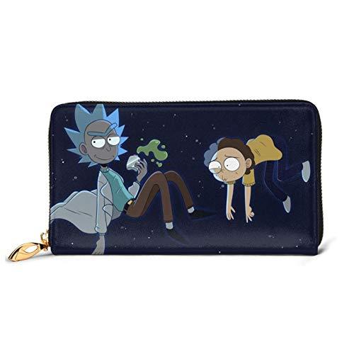Rick Morty Cartera de dibujos animados de anime, cartera larga de piel de vacuno, cremallera de gran capacidad embrague tarjetas de crédito caso monedero delgado cambio titular