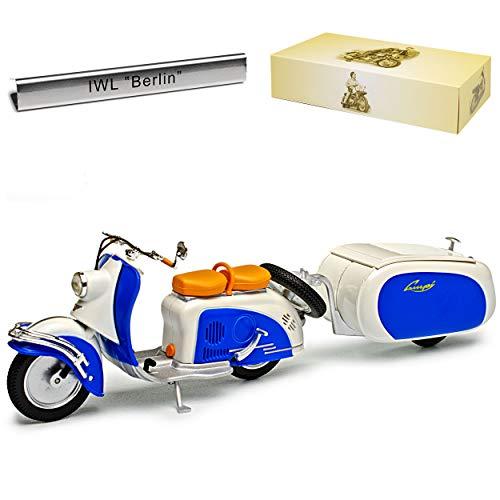 Atlas IWL SR59 Berlin Roller mit Anhänger 1959-1963 DDR 1/24 Modell Motorrad