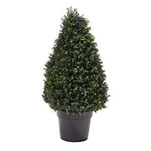 """Silk Flower Arrangements Home Pure Garden Artificial Cypress Topiary-37"""" Tower Style Faux Plant in Sturdy Realistic Indoor or Outdoor Potted Shrub Décor"""