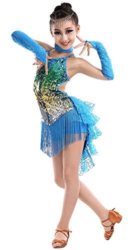 Happy Cherry Mädchen Tanzkleid Latein Kleid Pailletten Gesellschaftstanz Kleider Set Kinder Dancewear-Blau-140cm
