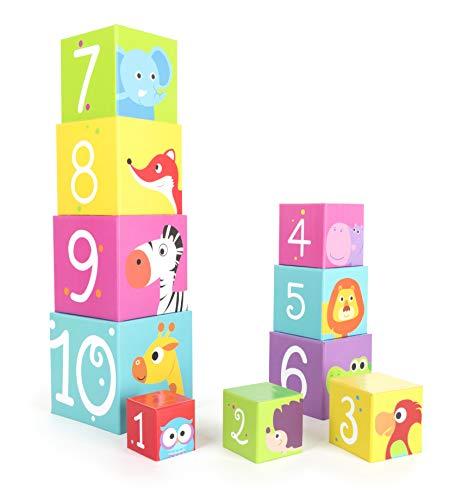Small Foot empiler Animaux Sauvages en Carton léger et Solide, Les Cubes sont imprimés de Motifs animaliers, 11205, Multicolore - Version Allemande