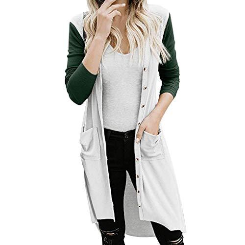 Auifor vrouwen Snap Button-Down-kleuren block-zakken vooraan open Long Cardigan bovenkleding