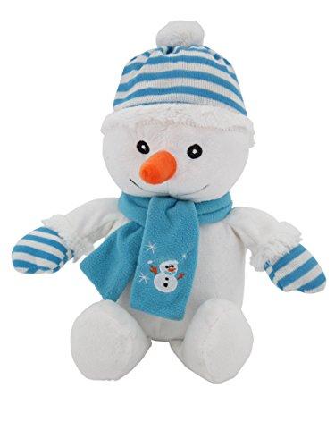 Schneemann blau Weihnachtsmann 42 cm, supersüss mit Bommelmütze und Schal,Plüschbär Teddy Teddybär Sweety-Toys