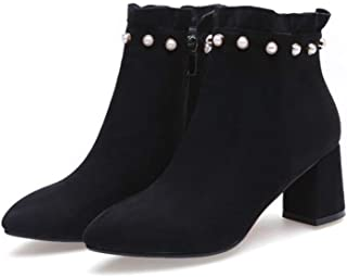 ofreciendo 100% Shirloy Calzado Mujer Grueso Grueso Grueso con botas Mujer Rojas botas Cortas Gran tamao Puntiagudas botas Martin botas Temperamento Glamour  últimos estilos
