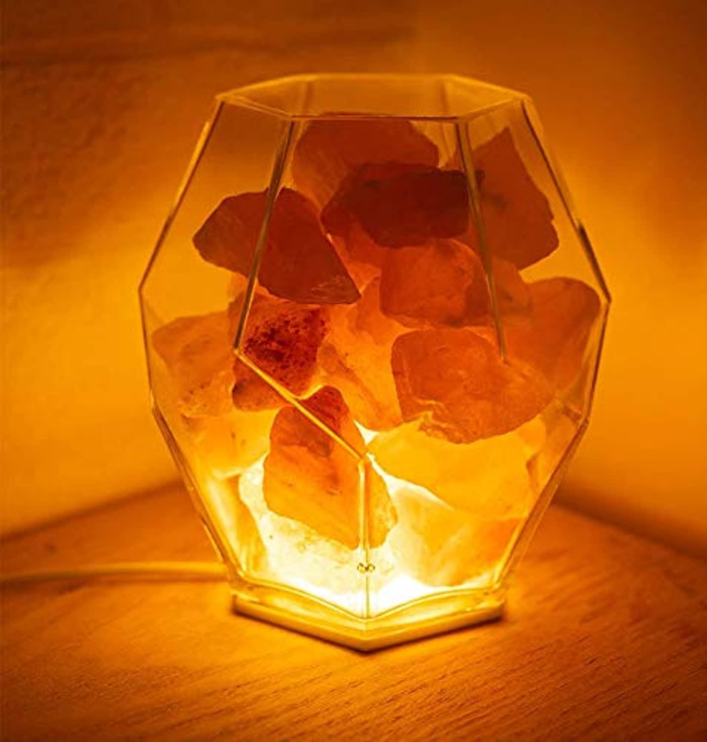 Hnfsliuhao Crystal Salt Lamp Creative Simple Nordic Bedroom Bedside Lamp Decoration Table Lamp Dimming Night Light