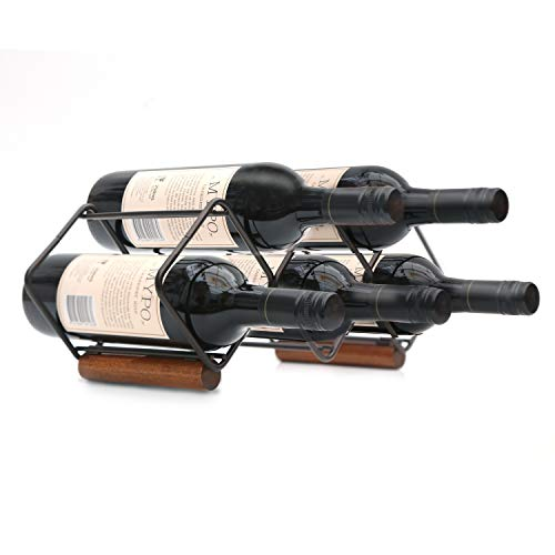 TOMORAL Wine Rack, estante para vino de encimera, soporte para vino de 5 botellas para almacenamiento de vino, no requiere ensamblaje, estante para vino de metal moderno, estante para vino pequeño