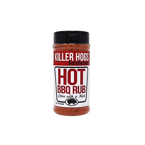 Killer Hogs Hot BBQ Rub | Championship Spicy BBQ and Grill Seasoning for Beef, Steak, Burgers, Pork, and Chicken | 16 oz