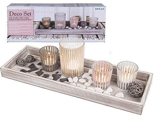 MC Trend Deko Set mit Holz Tablett inklusive 4 Glas Teelichthalter Steinen und Dekomaterial Geschenkidee Mama Oma zu Hause