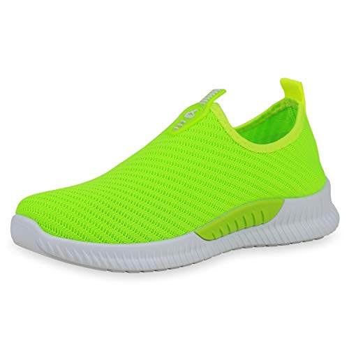 SCARPE VITA Damen Sportschuhe Slip On Sneaker Fitness Schuhe Strick Gym Laufschuhe 191654 Neon Grün 38