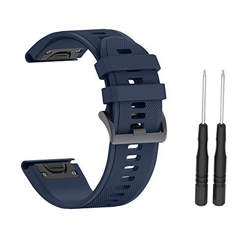 Camisin Correa de silicona de liberación rápida para Fenix 5X Plus 26mm-Azul