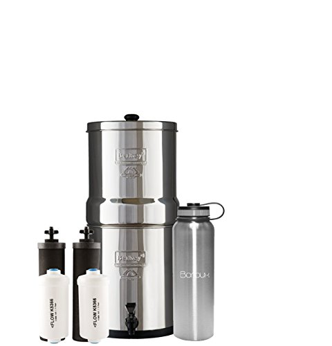 Boroux Bundle Big Berkey Water Filter System Includes Black Filters and Fluoride Filters (2.25 Gallon) Bundled 40 oz Stainless Steel Double Wall Bottle