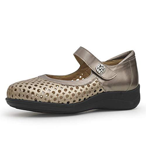 Calzamedi, 0588-247, dames-schoen, geperforeerd leer, tin, breedte 15, klittenbandsluiting, dubbele inlegzool, wig 3 cm