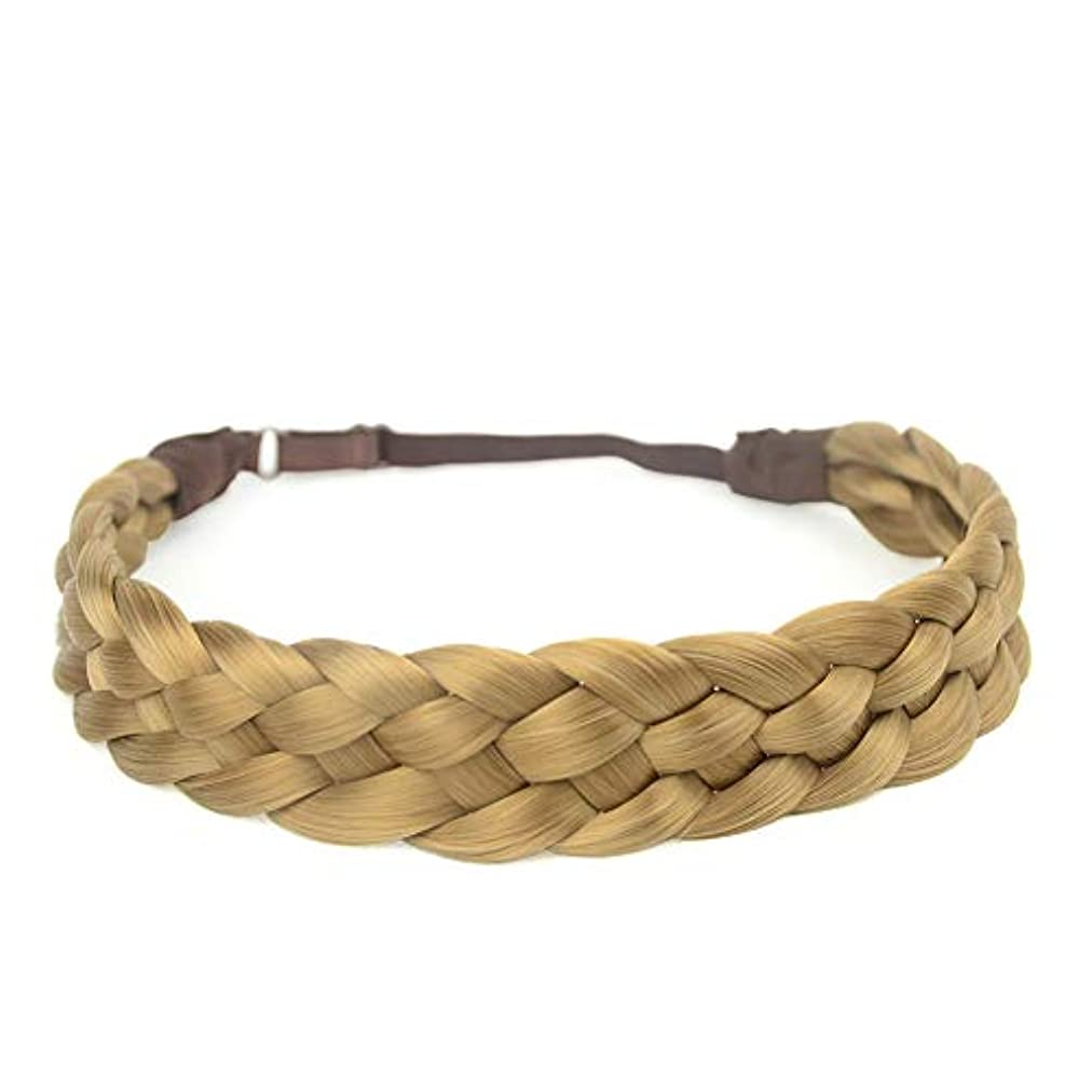 DIGUAN 5 Strands Synthetic Hair Braided Headband Classic Chunky Wide Plaited Braids Elastic Stretch Hairpiece Women Girl Beauty accessory, 56g (#Honey Blonde) xwbhwt27221