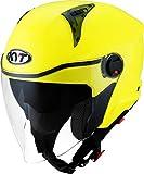 KYT D-City - Casco de moto jet con doble visera, color amarillo fluorescente, talla L