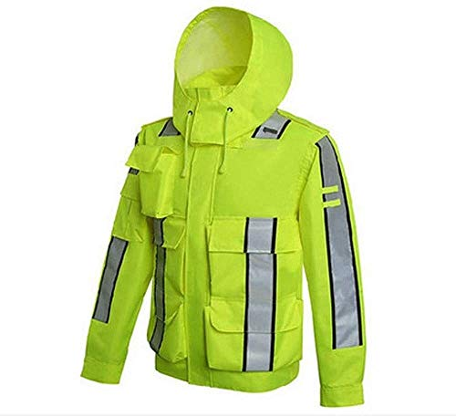 Impermeables trajes de lluvia chaquetas unisex ciclo de trabajo de advertencia de seguridad impermeables Ropa Impermeable Ropa de trabajo de Split impermeable con el reflector de correas y sombrero fo