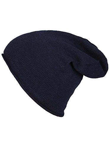 Zwillingsherz Mütze Beanie Slouch mit Kaschmir für Damen Mädchen Kinder Uni - Hochwertige Cashmere Cap Kappe im Uni Design - Perfekt für Herbst Winter - Warme Haube mit weichem Fleece - Navy