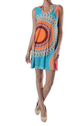 Aryeh Beautiful Ladies Floral Printed Summer Dress (Small, Turquoise)